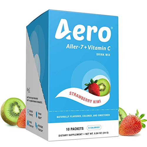 Aero Aller-7 Vitamin C Strawberry Kiwi Drink Mix (Stay Ahead of Seasonal Allergies, Respiratory Irritants, Everyday Immune Support, 10 Packets, Non GMO, Naturally Flavored)