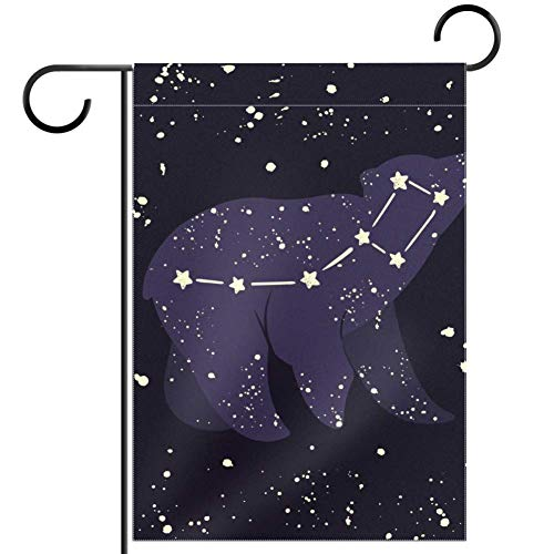 TIZORAX imobaby Sternenhimmel Sternbild Bär Wasserdicht Polyester Stoff Gartenflagge 30,5 x 45,7 cm, Textil, multi, 12x18in