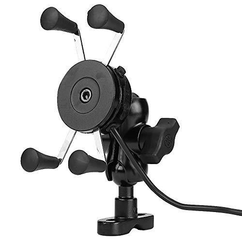 Duokon Motorfiets Telefoonhouder, Universele X-Type Motorfiets 360 ° Roterende Mobiele Telefoon Houder 5V 2.4A USB-oplader(zwart)