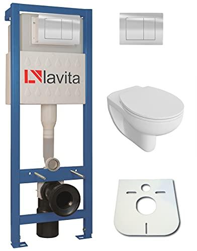 Domino Lavita Vorwandelement inkl. Drückerplatte + Basic-Pro Wand-WC ohne Spülrand + WC-Sitz mit Soft-Close Absenkautomatik Drückerplatte (QS)