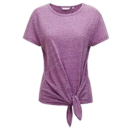 Manga Corta Mujer Cómodo Suelto Verano Cuello Redondo Color Sólido Mujer Blusa Unico Dobladillo Plisado Anudar Diseño Mujer Tops Ocio Diario Transpirable All-Match Mujer T-Shirts B-Purple M