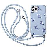 Yoedge Funda con Cuerda para Apple iPhone 7 Plus/8 Plus 5,5',Púrpura Claro TPU Silicona Mate Lindo Dibujos Animados Case con Colgante Ajustable Correa de Cordón Cárcasa para iPhone 7 Plus,Cocodrilo