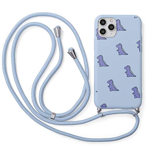 Yoedge Funda con Cuerda para Apple iPhone 6/6S 4,7', Púrpura Claro TPU Silicona Mate Case con Lindo patrón Dibujos Animados con Colgante Ajustable Correa de Cordón Cárcasa para iPhone 6, Cocodrilo