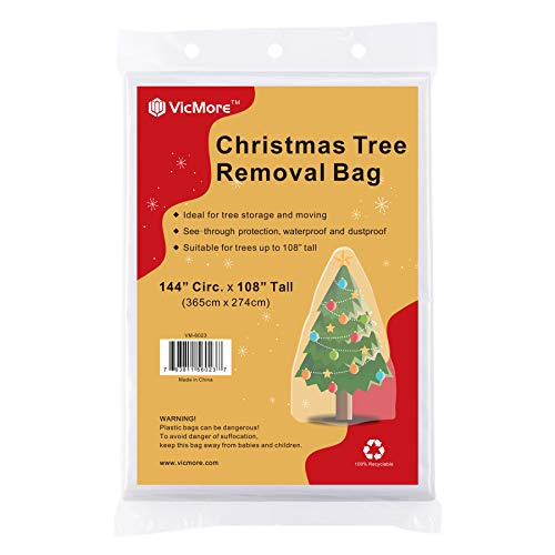 VICMORE Christmas Tree Removal Bag 144-Inch Circumference by 108-Inch Tall Christmas Tree Storage Bag Tree Disposal Bag Suitable for Trees up to 9 Feet Tall