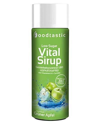 Foodtastic Low Sugar Vital Sirup Grüner Apfel 250ml, zuckerarmes Getränkekonzentrat 1:80 zum Mischen in Wasser