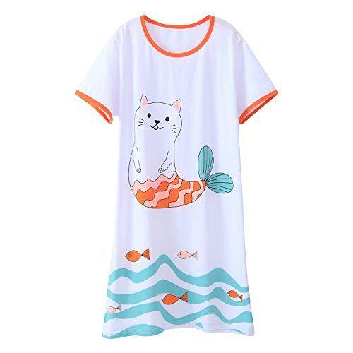 AOSKERA M?dchen Katze Nachthemd Baumwolle Nachtw?sche wei?e Nachthemden 9-10 Jahre