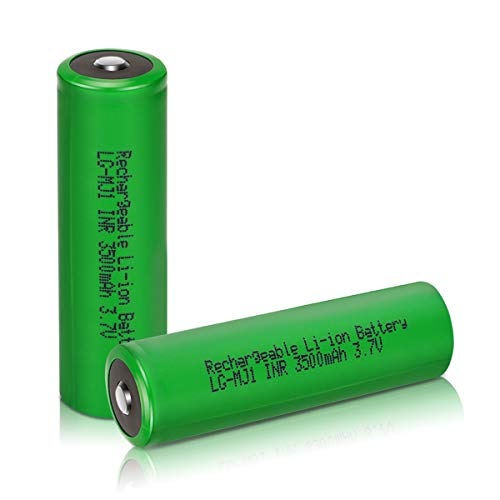 Veckuty 3.7 Volt Rechargeable Battery 3500mAh 10A 3.7v Lithium ion Battery Button Top Batteries for Fan Spotlight Flashlight (2pack)