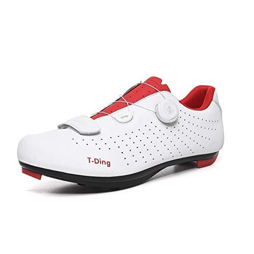 Herren Fahrradschuhe, Fahrradschuhe Rennradschuhe Mountainbike Schuhe Anti Rutsch Bike Spinning Schuhe EU 39-45,Weiß,EU 45/ UK 10