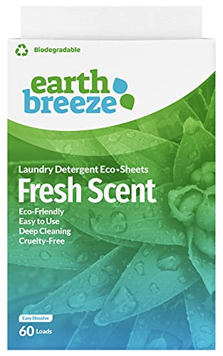 Earth Breeze - Liquid-less Laundry Detergent Sheets - Fresh Scent - Plastic Free (60 Loads) 30 Sheets