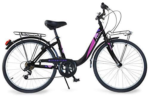 giordanoshop Bicicletta da Donna 24' 6V Aurelia Roadster Bike Nera