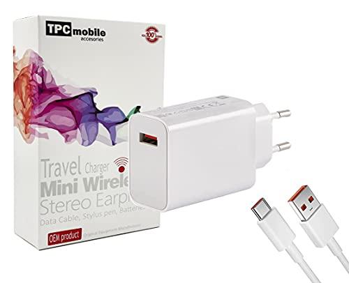 Cargador de Red Carga Rápida Turbo Charge (33W) + Cable USB-C para Xiaomi Redmi Note 9 Pro, Note 10, Note 10 Pro, Mi 10T, Mi 10S, Mi 11 Lite, Poco X3, Poco M2