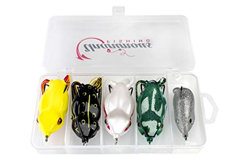 Unanimous Fishing Hollow Body Frog Lures for Bass Fishing – Weedless Topwater Bass Lure with VMC Hooks and Free-Moving Legs – 5 Different Weights in a Snap-Lock Case