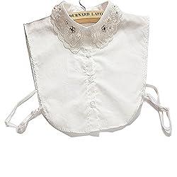 Collar01-White Lace Half Shirt Detachable False Faux Collar