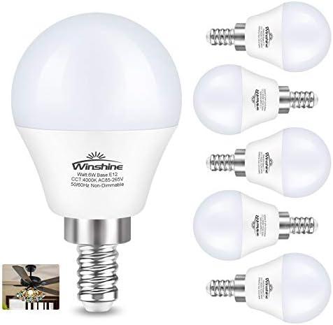 winshine E12 LED Fan Bulbs 6 Pack Candelabra LED Light Bulb G45 60 Watt Equivalent 4000k Fan product image
