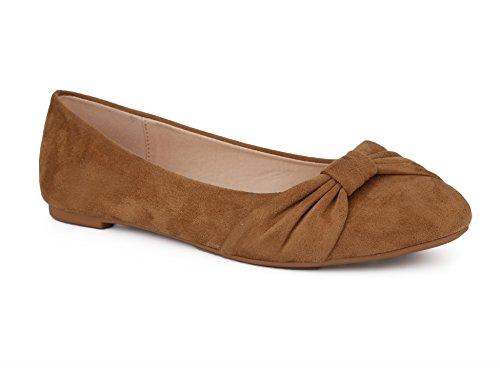 MaxMuxun Damen Geschlossene Ballerinas Flache Freizeit Bequeme Schuhe BraunGröße 39 EU