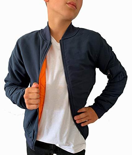Worldclassca Kinder Bomber Jacke Jungen ÜBERGANGSJACKE Streetwear FREIZET Pilotenjacke Bomberjacke Jacket Piloten LEICHT GEFÜTTERT Basic Kids Fliegerjacke REIßVERSCHLUSS NEU 122-140 (134, Blau)