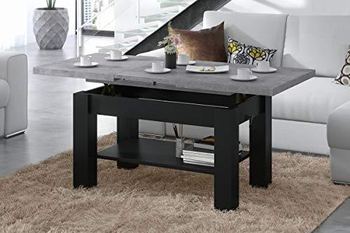 Mazzoni Design Couchtisch Tisch Astoria stufenlos höhenverstellbar 57-69cm ausziehbar 110-150cm mit Ablagefläche Esstisch (Betonoptik/Schwarz matt)