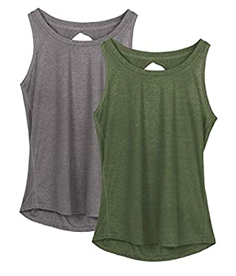 icyzone Yoga Tops Activewear Workout Clothes Open Back Fitness Racerback Tank Tops for Women (XL, Grey/Green)