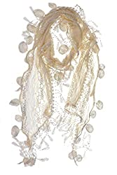 S3129 Tan Leafy Lace Scarf With Tassels