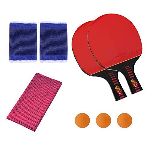 SONSYON Conjunto de Raqueta - Tenis de Mesa Palas y Bolas para el Entrenamiento de Niños Adultos,Toalla Rosa Oscuro,Raqueta(3 Bolas)+Pulsera+Toalla