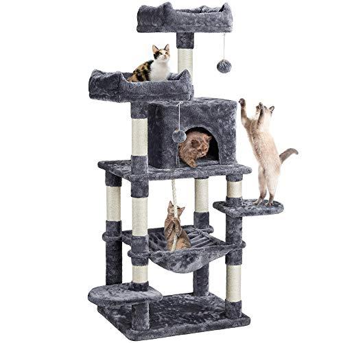 Yaheetech Rascador para Gatos Altura 147 cm Arbol para Gatos Castillo Mascota con Hamaca Juguete de Gatos de Sisal Natural Gris Oscura