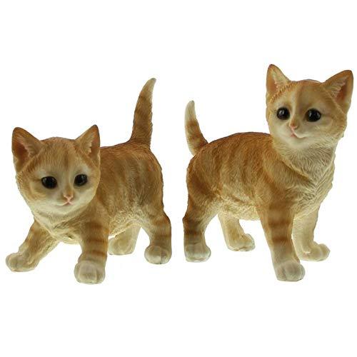 SIDCO Katze Deko 2 x Kätzchen Figur Garten Kätzchen Skulptur Gartenfigur lebensecht