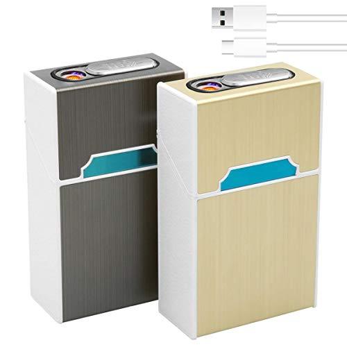 LAOYE 2 Farben Zigarettenetui mit Feuerzeug - Aluminium Zigarettenbox mit elektronischem winddichtem flammenlosem Feuerzeug - 2 Pack Zigarettenschachtel Box für 20 Zigaretten, USB Laden