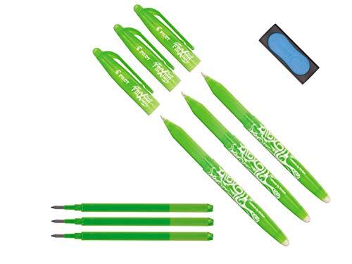Pilot Frixion Stylo roller effaçable 3 Stifte + 3 Minen vert clair