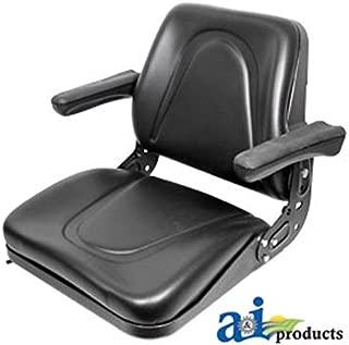 T500BL Seat, Universal w/Slide Track & Flip-Up Armrests, Black Vinyl Fits:Bobcat