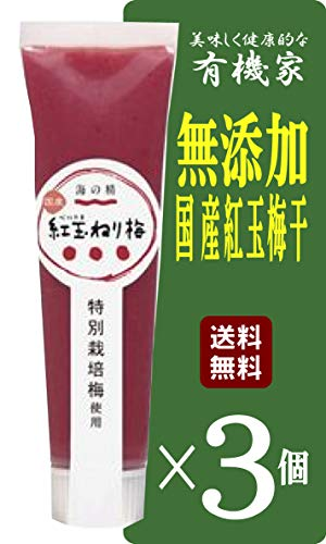 無添加 練り梅 <チューブタイプ>100g×3個 ★ ネコポス ★国内産特別栽培梅干100% 豊かな香り、マイルドな酸味。使いやすいチューブタイプ。原材料すべて国産。