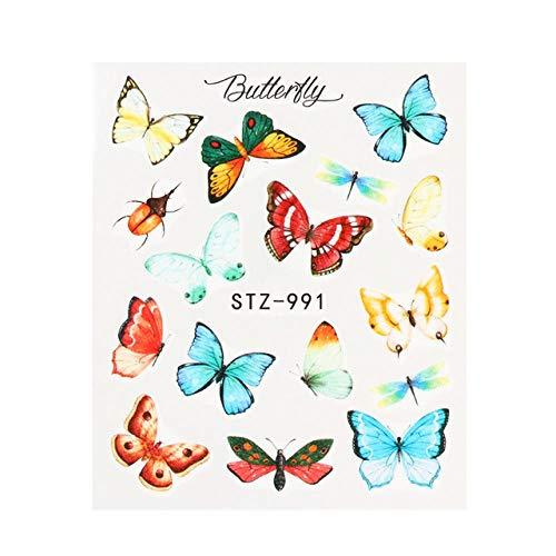BGPOM Nail Watermark Sticker Couleur Butterfly Nail Sticker Nail Watermark Decal 10 pièces/Ensemble, STZ-991