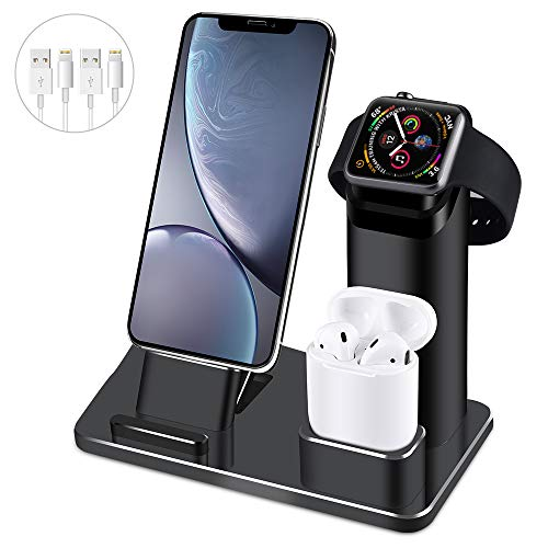 Wuloo Charging Stand iWatch Charging Station Compatible with iPhone 11 Pro Max and Airpods Aluminum...
