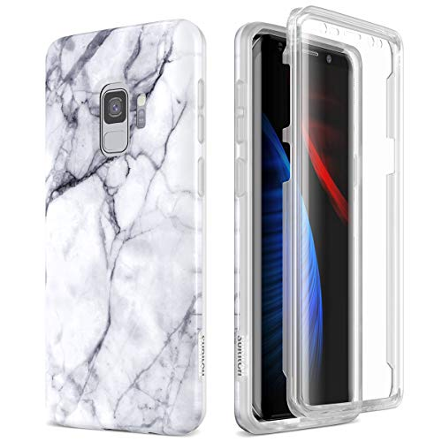 SURITCH Case for Galaxy S9, [Built-in Screen Protector] Natural Marble Full-Body Protection Shockproof Rugged Bumper Protective Cover for Samsung Galaxy S9 5.8 Inch (Black Marble)