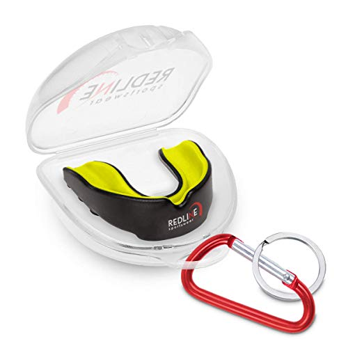 Redline Sportswear Custom Molded Mouthguard w/Case | Youth - Adult - Braces | Best Protection for MMA, Boxing, BJJ, Lacrosse, Football, Hockey and Other Sports | BPA Free (Yellow & Black)