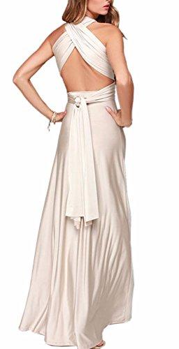 EMMA Damen Sexy Elgant V-Ausschnitt Rückenfrei Gefaltet Plisse Abendkleider Schulterfrei Cocktailkleid Abschluss Bandage Rücken Kreuz, S, Beige
