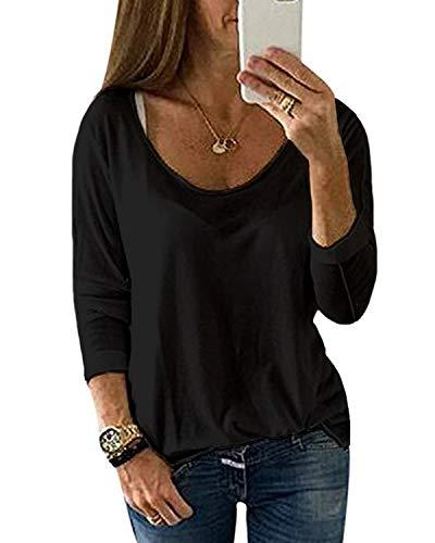 YOINS Camiseta de Manga Larga para Mujer Camisas con Rayas Cuello Redondo Casual Blusas Elegante Tops Negro-02 M