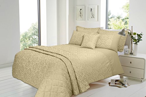 Olivia Rocco Savoy Jacquard Luxurious Duvet Cover Sets Quilt Cover Sets Bedding Sets (Gold, Double)