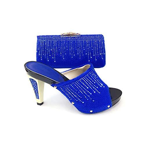 Baby&Queen-heeled-sandali Ultime Donne Africane Scarpe Di Corrispondenza Decorate con Strass Signore Scarpe e Borsa Pompe Donna Scarpe, Blu (Scarpette a strappo Voltaic 3 Velcro Fade - Bambini), 39 EU