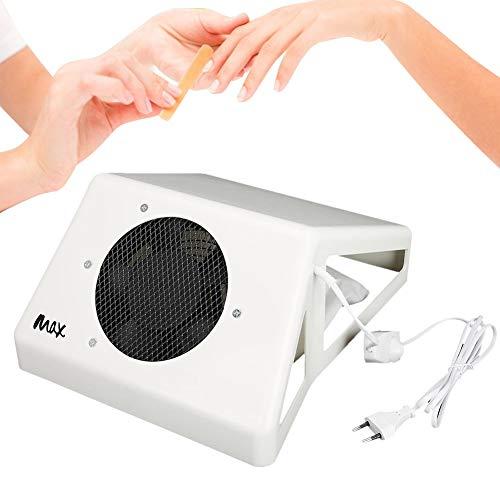 60W Aspirador de Polvo de Uñas, Colector de Polvo de Uñas Profesional, Máquina de Succión de Polvo de Uñas para Apoyar la Mano(Blanco)