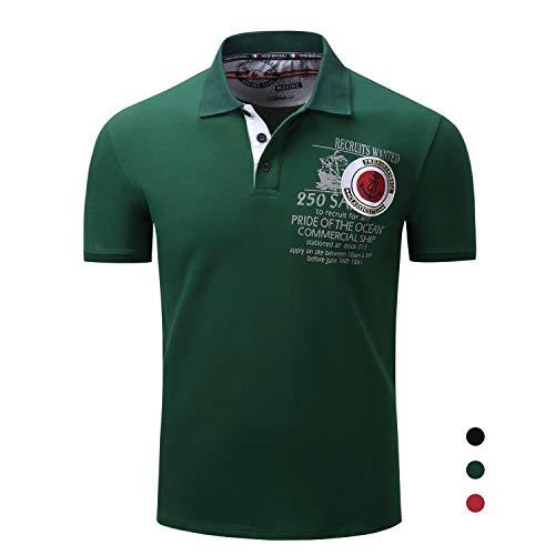 Adidase Poloshirt aus Baumwolle für Herren,Revers Kurzarmhemd Besticktes Drucken Poloshirt,2,M