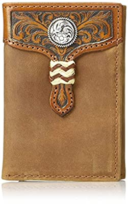 Ariat Men's Distressed Circle Concho Rawhide Tri-fold Wallet, brown