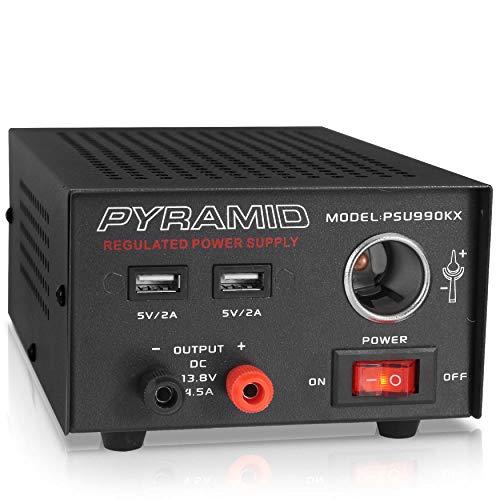 Pyramid PSU990KX - Fuente de alimentación universal para banco de laboratorio doméstico y compacto de 7 amperios para radio CB, HAM con 13,8 V CC 120 V CA, doble USB, encendedor de cigarrillos