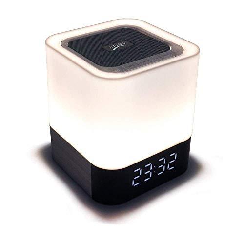 Reloj despertador digital Luz nocturna Altavoz Bluetooth Escritorio Despertadores Control táctil Multicolor Regulable para niños Reloj de noche para niños que cambia de color (Color: Blanco Tamaño: