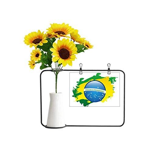Beauty Gift Mapa dos elementos culturais da bandeira do Brasil, vasos de girassol artificiais, cartão de bênção