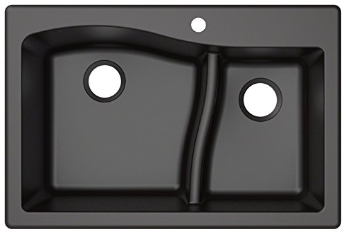 Kraus Quarza Kitchen Sink | 33-Inch 60/40 Bowls | Black...