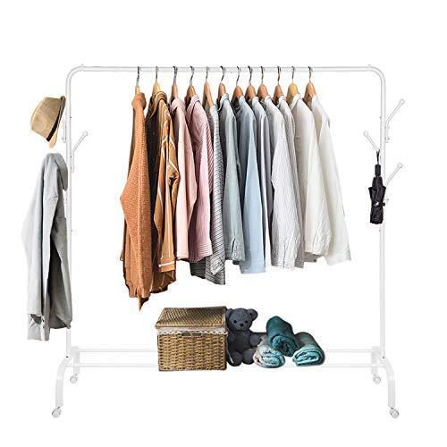 amzdeal Kleiderständer, Kleiderstange mit Haken aus Metall, Garderobenständer mit Schuhablage und Rollen(150 * 152 * 40)