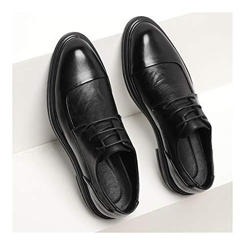 CAIFENG Vestido formal de Oxfords para hombre con cordones y costuras de piel sintética, estilo británico, suela de goma, color negro, talla: 40 EU)