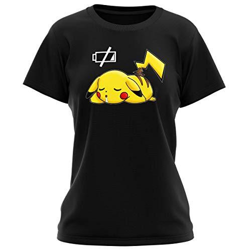 Okiwoki T-Shirt Femme Noir Parodie Pokémon - Pikachu - Batterie à Plat ! (T-Shirt de qualité Premium de Taille S - imprimé en France)