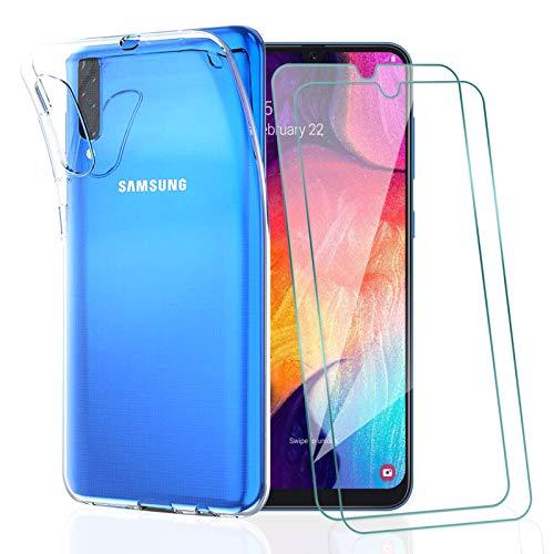 KEEPXYZ Funda para Samsung Galaxy A30s / A50 / A50s + 2 Pcs Protector de Pantalla para Cristal Templado, Flexible Silicona Transparente TPU Carcasa + Vidrio Templado para Samsung A30s / A50 / A50s