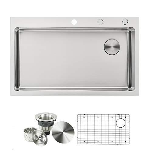 Topmount/Drop In Stainless Steel Kitchen Sink Package – 16 Gauge Basin & 9 Gauge Deck, Complete Sink Pack (36 Inch Offset Drain Single Bowl)
